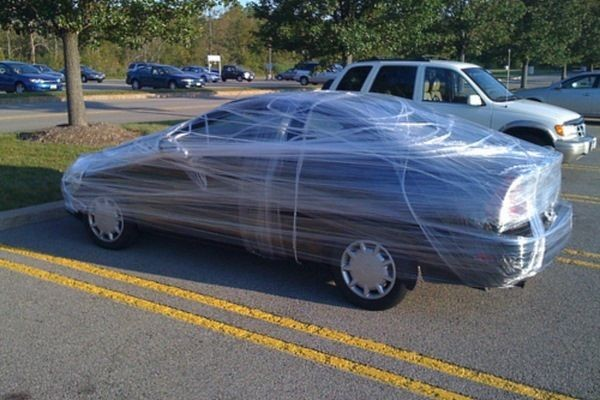 Wrap the principal's car in foil or cling wrap